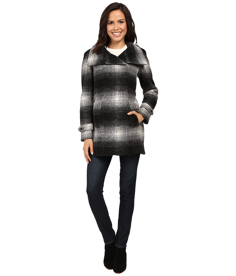 Calvin Klein Plaid Wool with Zip Closure and Sleeve Detai...