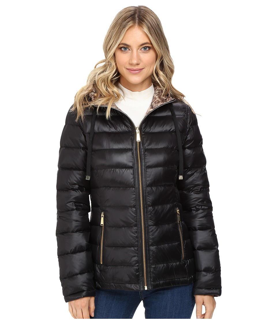 Calvin Klein Reversible Short Hooded Packable Down (Black/Leopard) Women