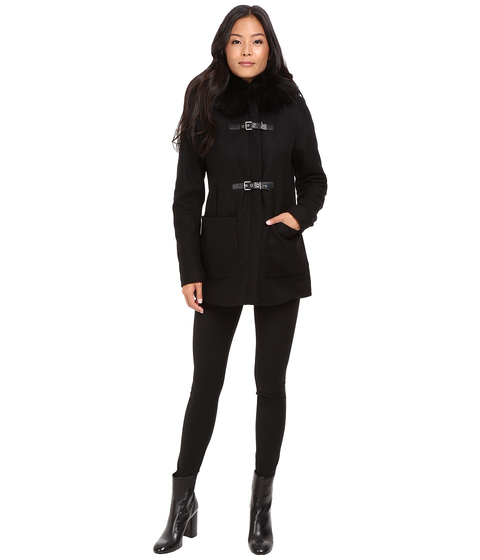 Calvin Klein - Fur Trimmed Toggle w/ Oversized Pockets (Black) Womens Coat