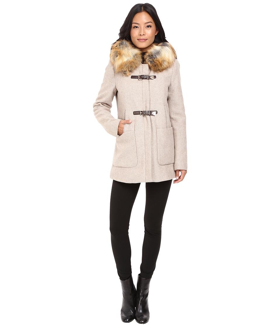 Calvin Klein Fur Trimmed Toggle w/ Oversized Pockets (Oat...