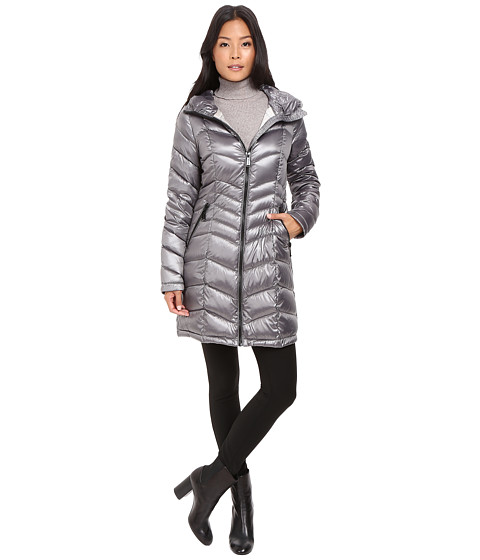 Calvin Klein Long Hooded Packable Down With Waist Detail