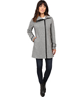 Calvin Klein - Asymmetrical Zip Twill Wool Coat w/ PU Trim