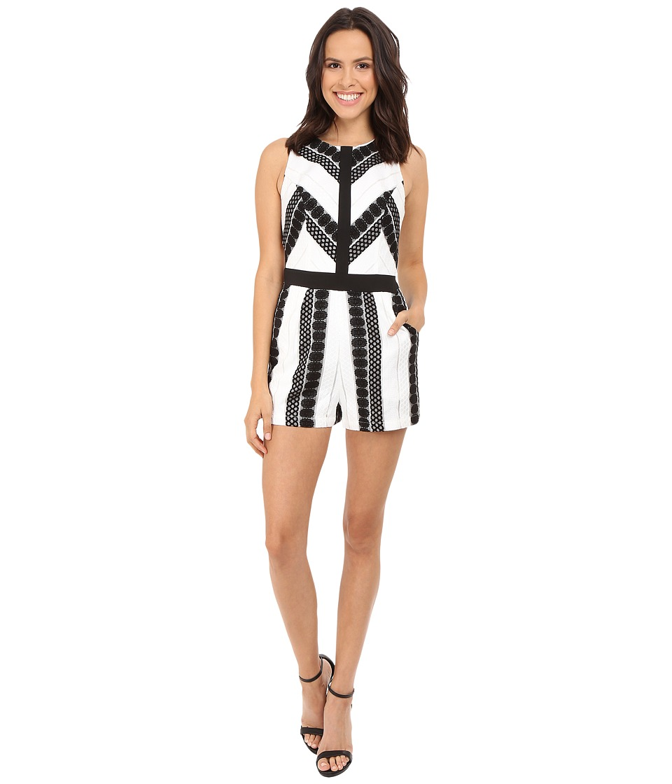 Adelyn Rae Lace Romper Black/White Womens Jumpsuit Rompers One Piece