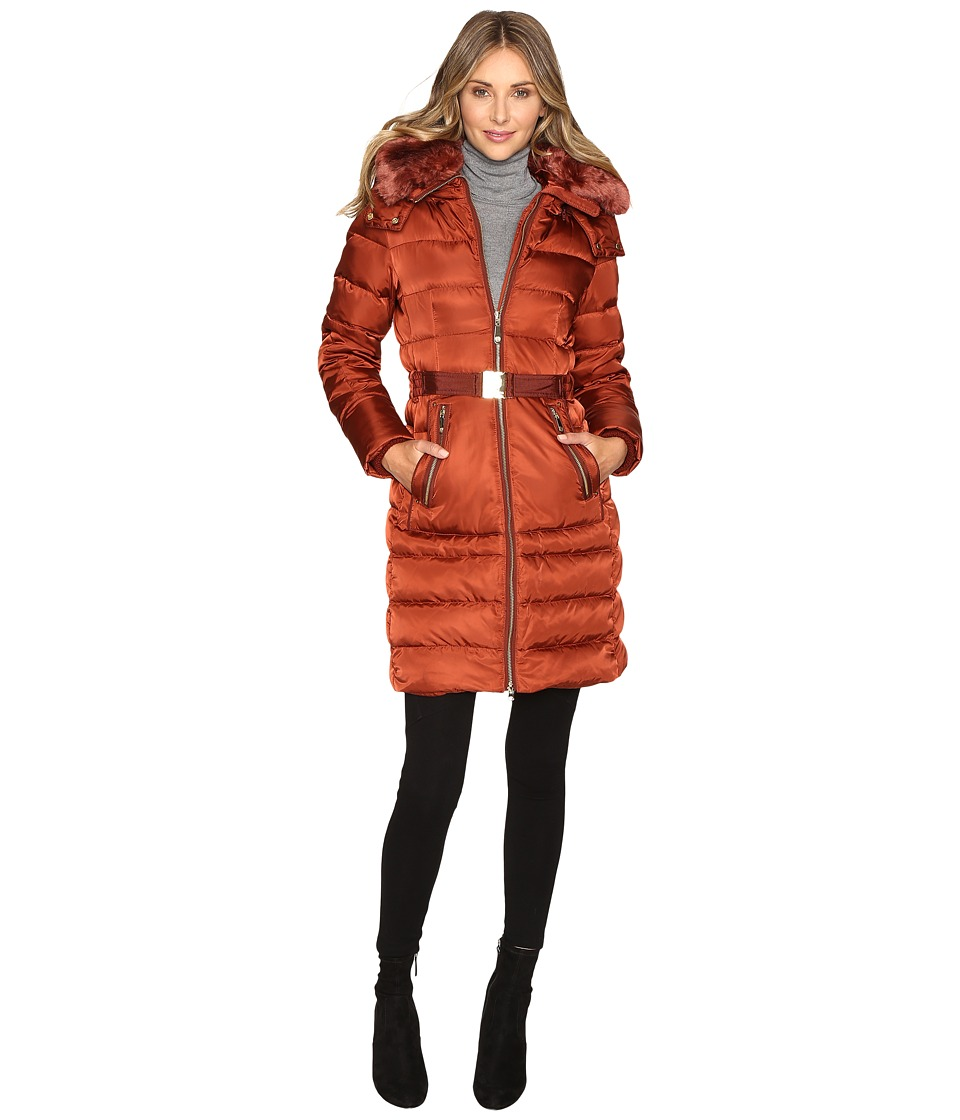 Vince Camuto Belted Down with Removable Hood and Removable Faux Fur Collar L8691 (Rust) Women