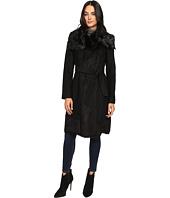 Vince Camuto - Belted Faux Fur Trim Wool Coat L1231