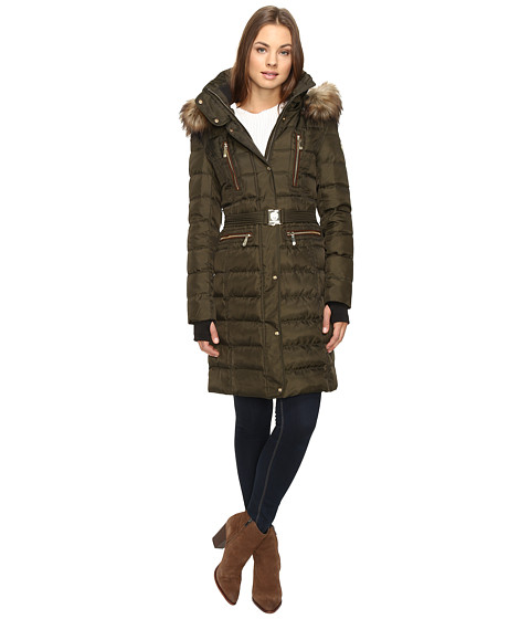 Vince Camuto Belted Faux Fur Trim Wool Coat Removable Hood and Trim L1571 - Military