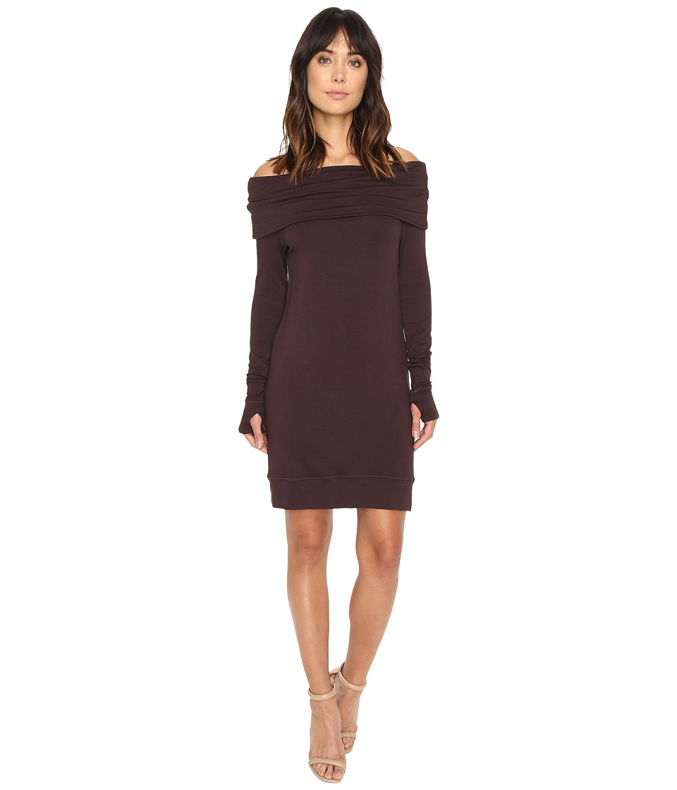 Michael Stars - Elevated Terry Off Shoulder Tunic/Dress w/ Thumbholes (Port) Women's Dress