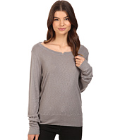 Michael Stars - Slub Long Sleeve Notched Neck Sweatshirt Tee