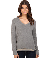 Michael Stars - Cotton Slub Long Sleeve Reversible Double Layer Vee Neck