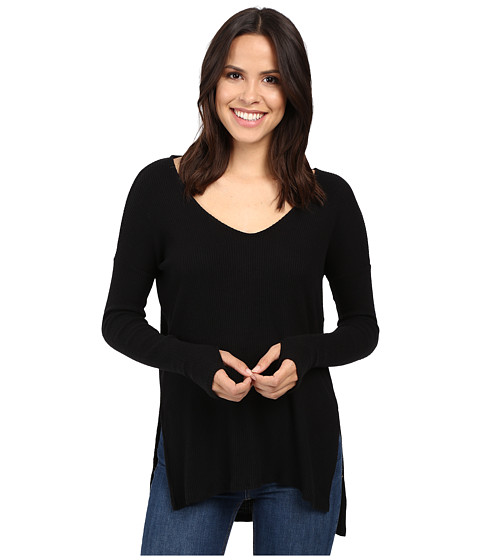 Michael Stars Super Soft Madison Rib Long Sleeve Vee w/ Thumbholes