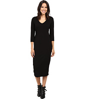 Michael Stars - Cotton Lycra 3/4 Sleeve Vee Neck Midi Dress