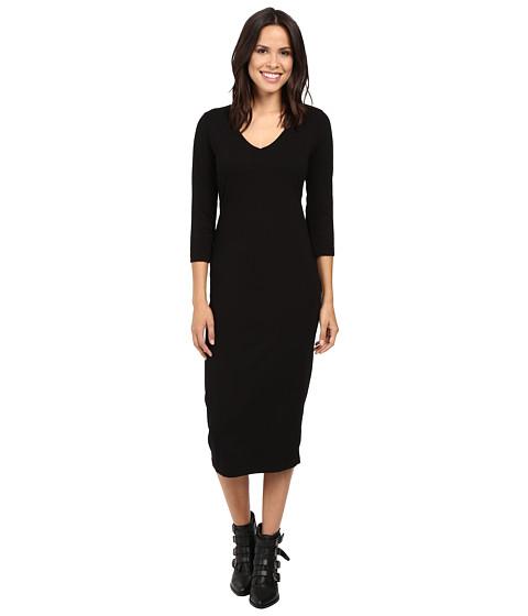 Michael Stars Cotton Lycra 3/4 Sleeve Vee Neck Midi Dress - Black