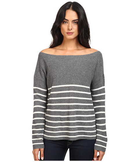 Michael Stars Cashmere Blend Striped Boat Neck Pullover