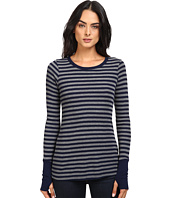 Michael Stars - Thermal Stripe Long Sleeve Raw Edge w/ Thumbholes