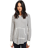 Michael Stars - Thermal Stripe Long Sleeve Hoodie w/ Pocket