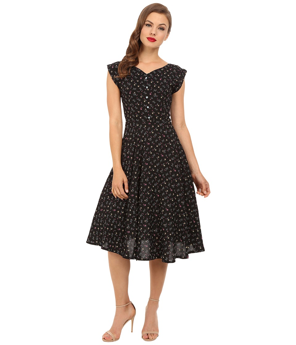 Unique Vintage 1940s Havenhurst Swing Dress Black Floral Womens Dress
