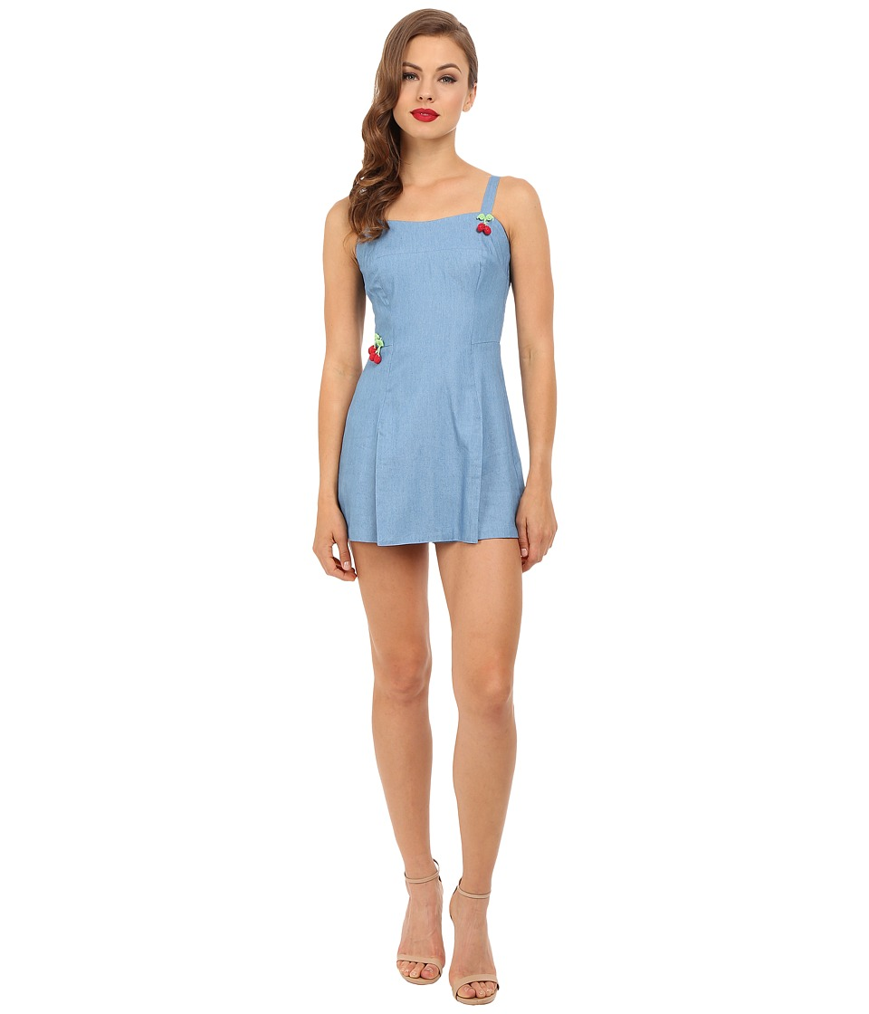 Unique Vintage Chambray Cherry Dolly Romper Blue Denim Womens Jumpsuit Rompers One Piece