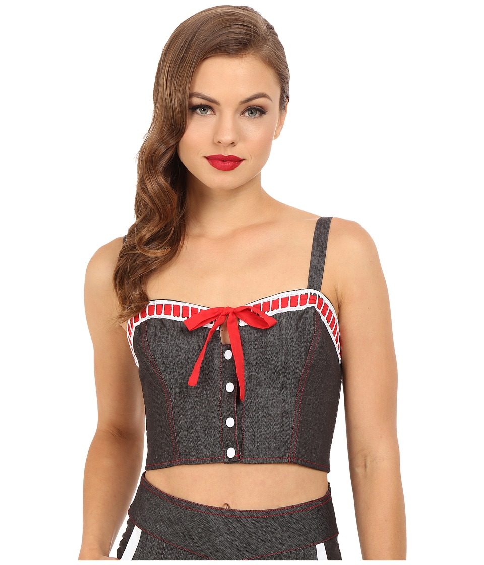 Unique Vintage 1940s Style Chambray Daisy Crop Top Black Denim Womens Clothing