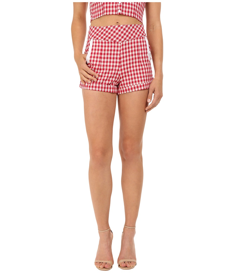 Unique Vintage 1940s Style High Waist Duke Shorts Red Gingham Womens Shorts