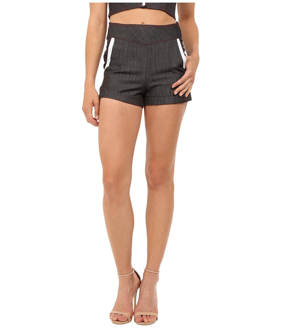 Unique Vintage - 1940s Style Chambray High Waist Duke Shorts Black Denim Womens Shorts $39.99 AT vintagedancer.com