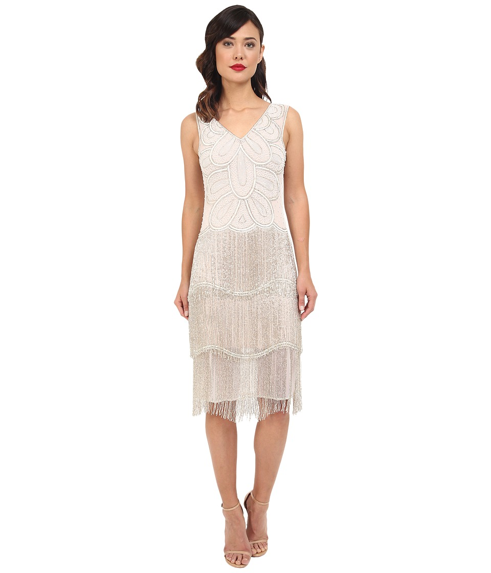 Unique Vintage Beaded Gigi Flapper Dress White Womens Dress