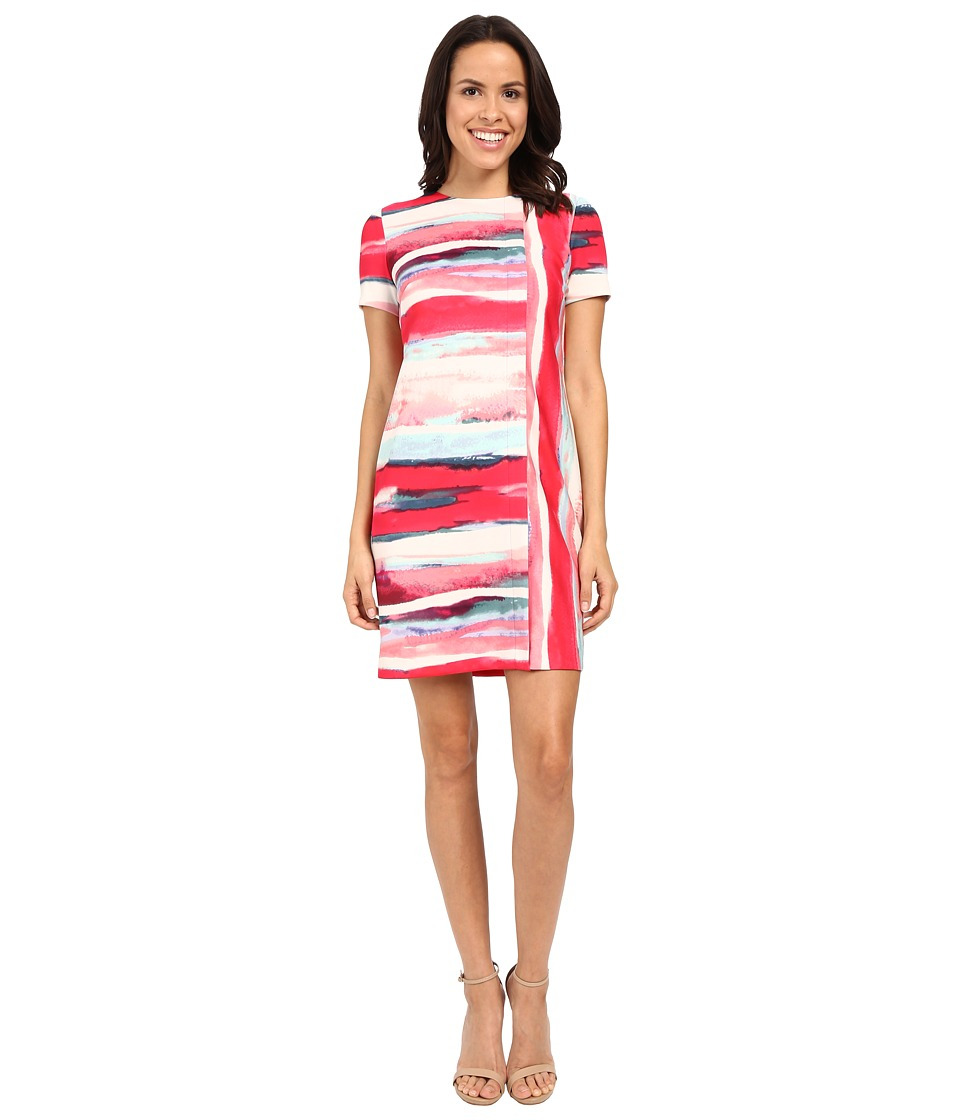 Vince Camuto Short Sleeve Printed Scuba Shift Dress Pink Multi Womens Dress