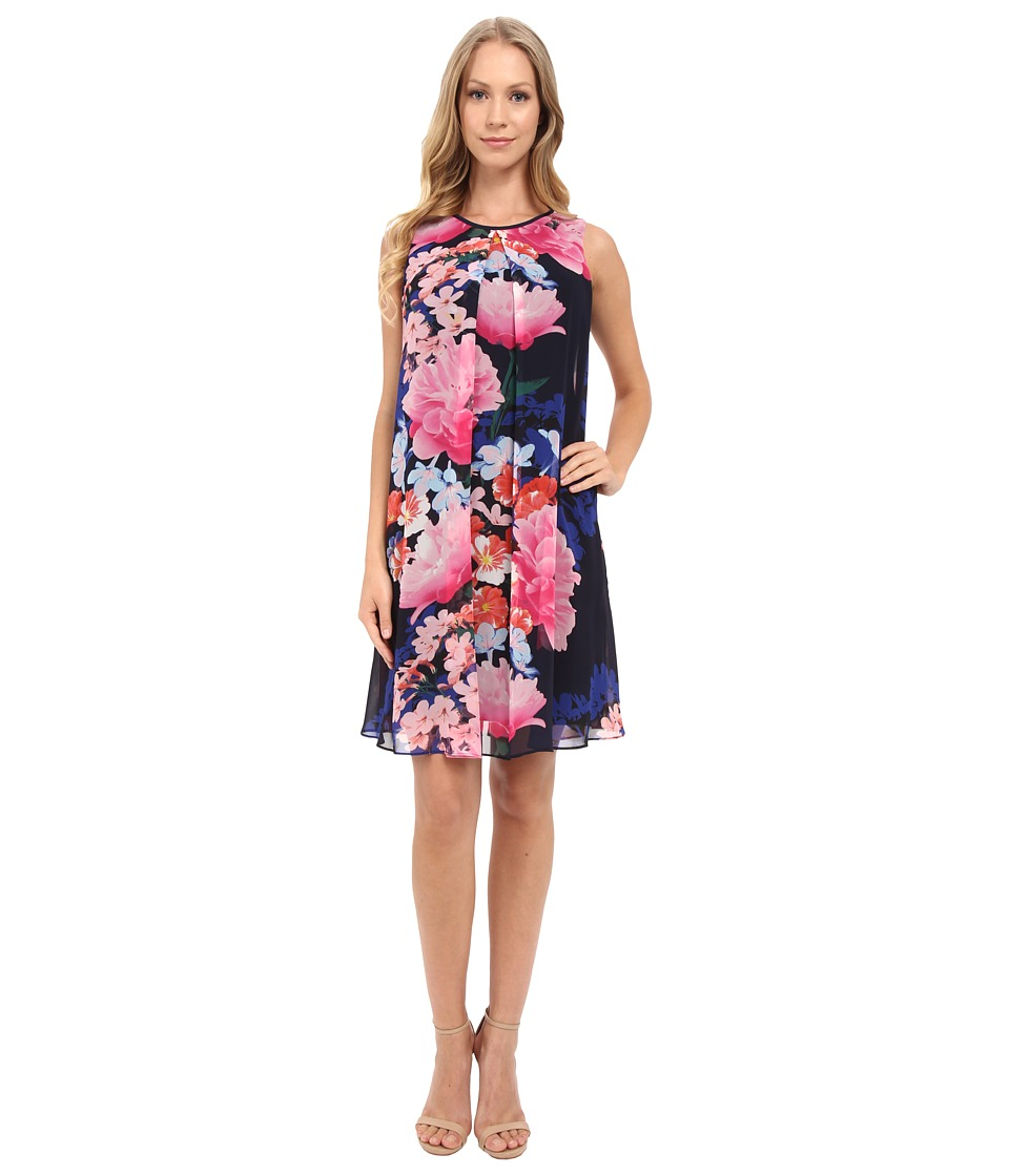 Vince Camuto Printed Chiffon Overlay Underdress with Binding Pleat Navy Multi Womens Dress