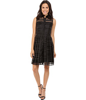 Tahari by ASL - Burnout Stripe Fit & Flare Shirtdress