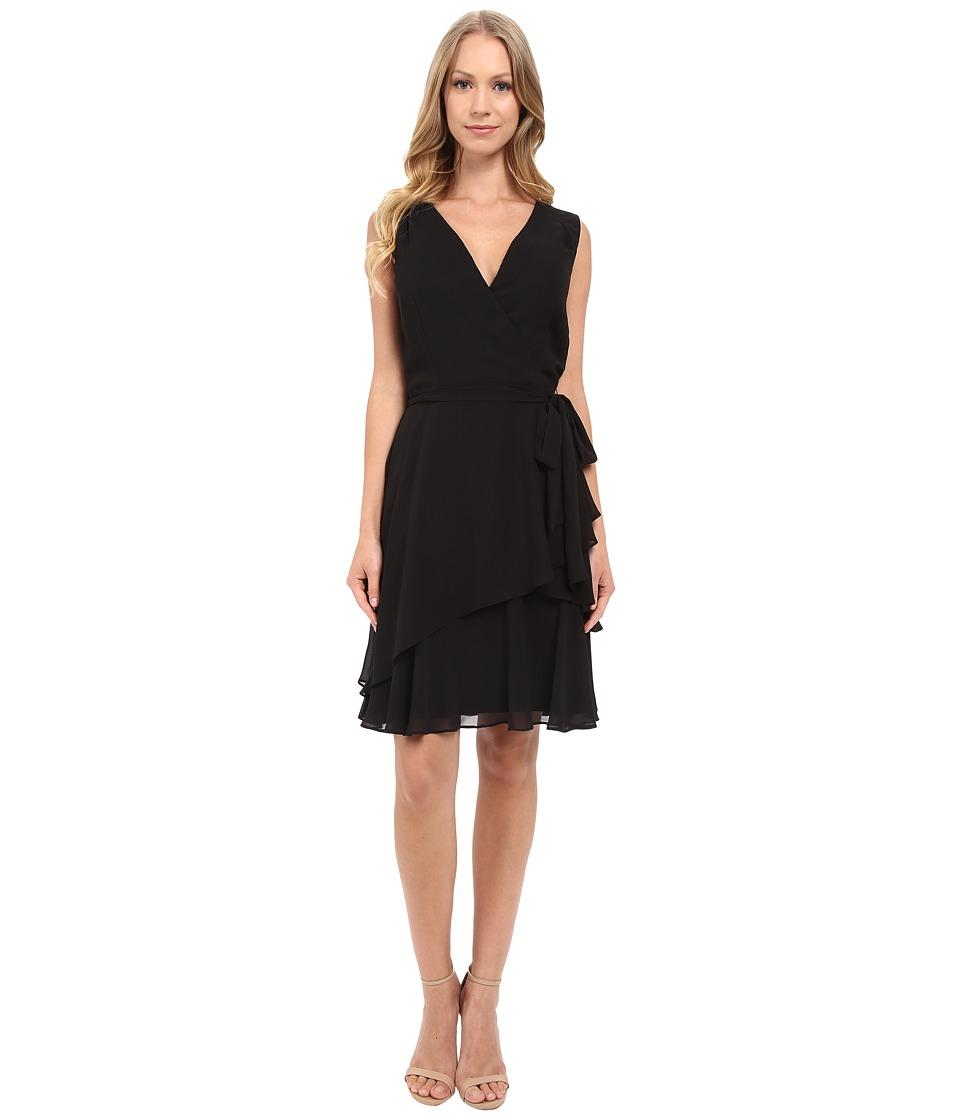 Tahari by ASL V Neck Chiffon w/ Ruffled Skirt Black Womens Dress