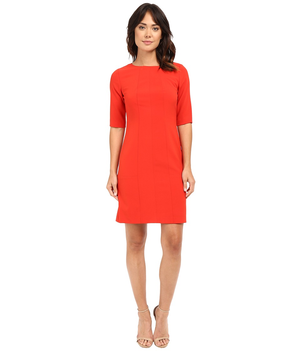 Tahari by ASL Seamed Sheath w/ Elbow Length Sleeves Red Pepper Womens Dress
