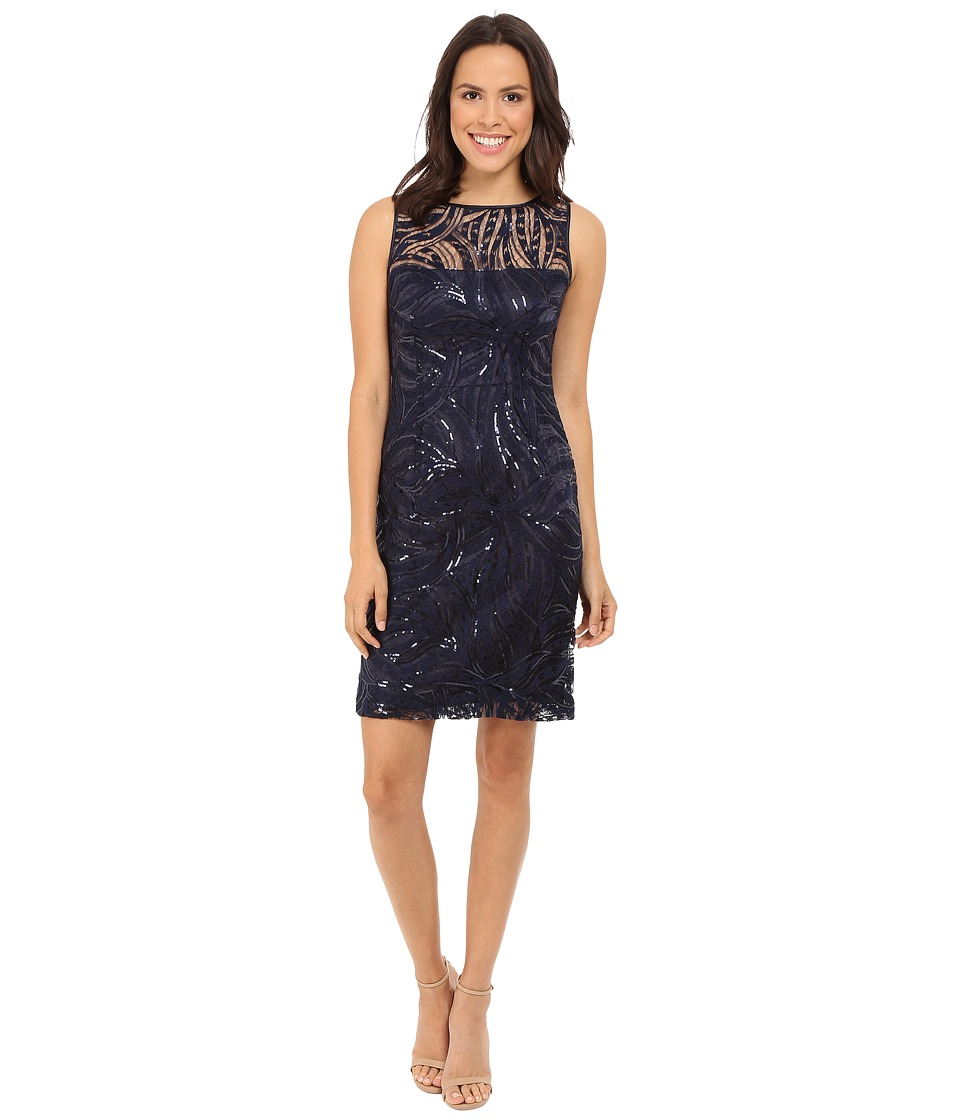 Tahari by ASL Sequin Embroidery Illusion Neck Navy Womens Dress