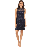Tahari by ASL - Sequin Embroidery & Illusion Neck