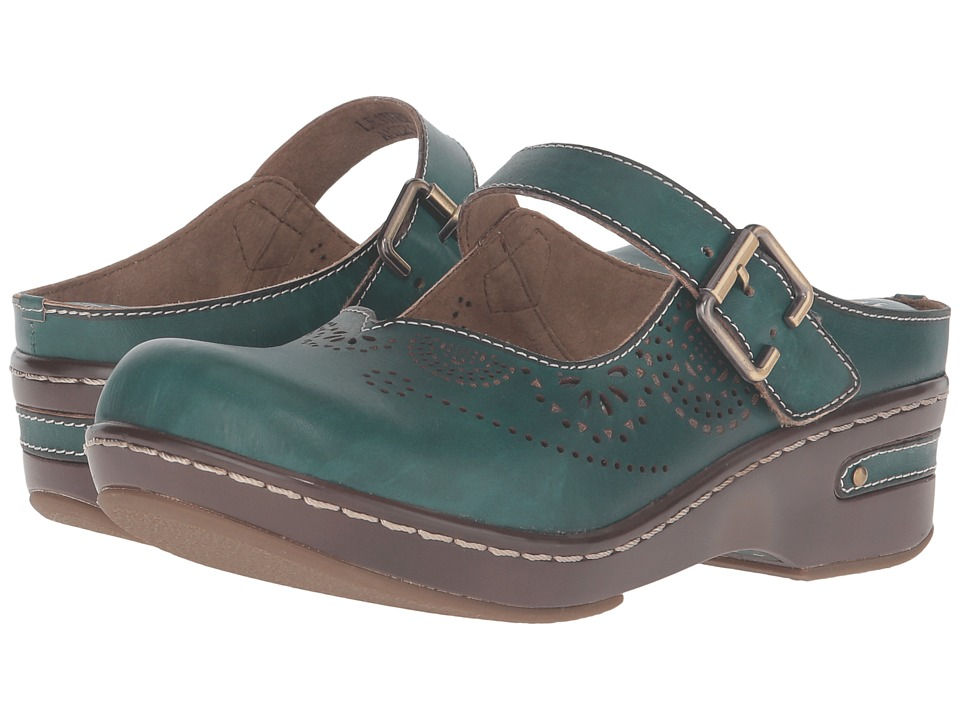 L'Artiste by Spring Step Aneria (Teal) Women's Clog/Mule Shoes