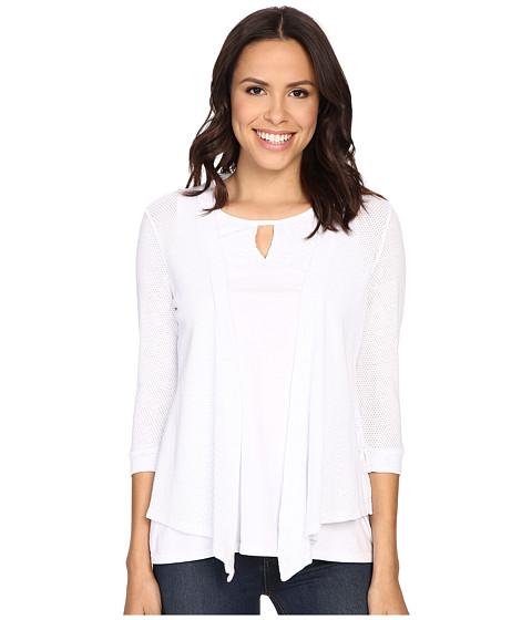 Mod-o-doc - Cotton Mesh 3/4 Sleeve Cardigan (White) Women's Sweater