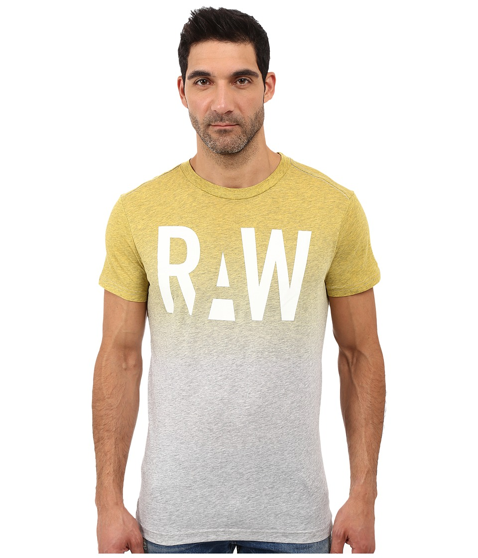 G-Star - Wendor Short Sleeve Tee in Dipped NY Jersey (Grey Heather/Yellow) Men