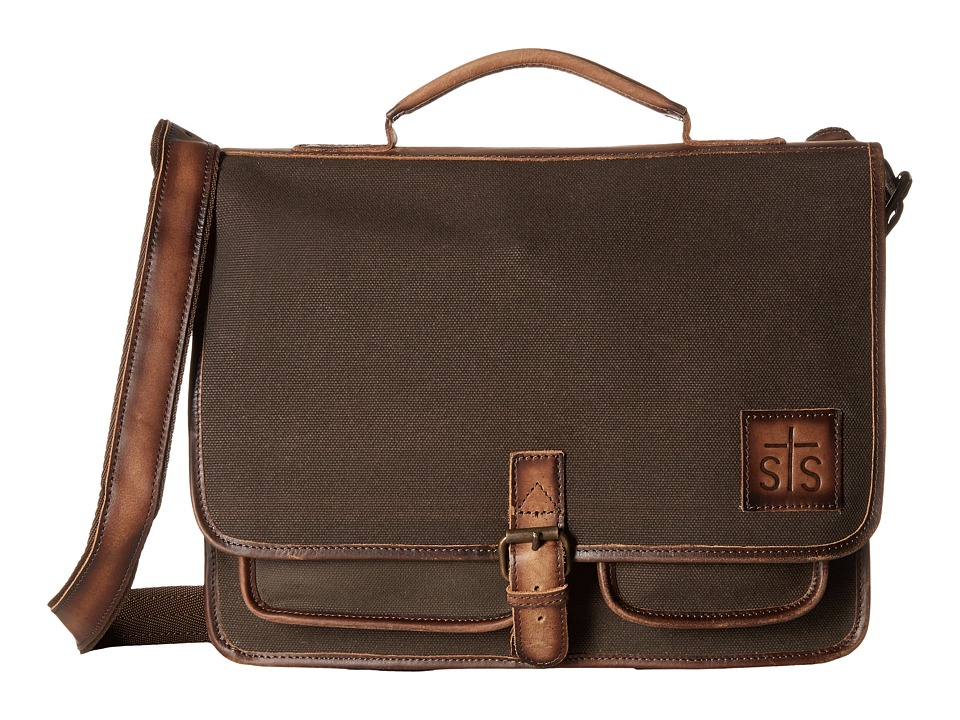 STS Ranchwear - The Foreman Portfolio (Dark Khaki Canvas/Leather) Handbags