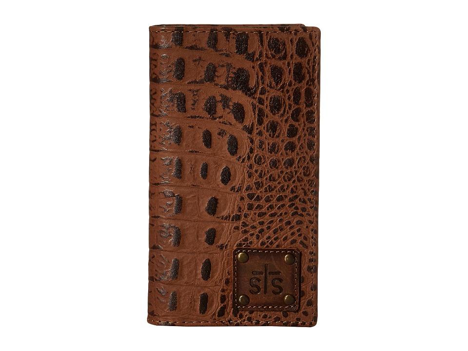 STS Ranchwear The Foreman Large Checkbook Wallet Brown Croc Wallet Handbags