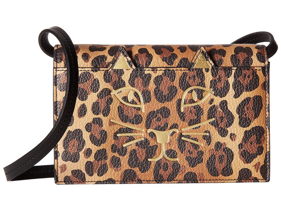 Charlotte Olympia Feline Purse (Natural Leopard Print Goa...