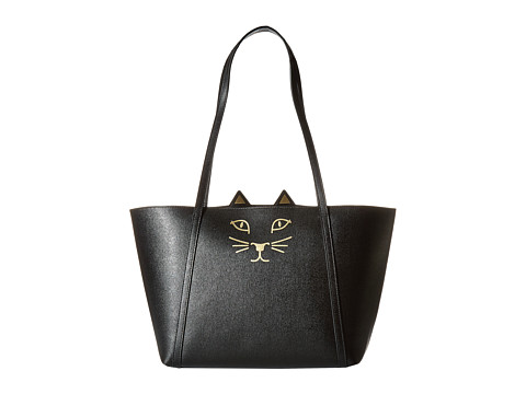 Charlotte Olympia Mini Feline Shopper - Black Embossed Calfskin
