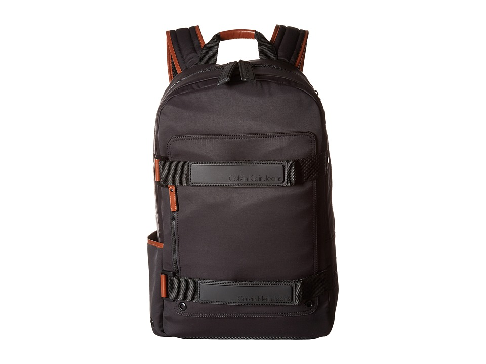 Calvin Klein - Nylon Backpack with Leather and Rubber Detail (Black/Cognac) Backpack Bags