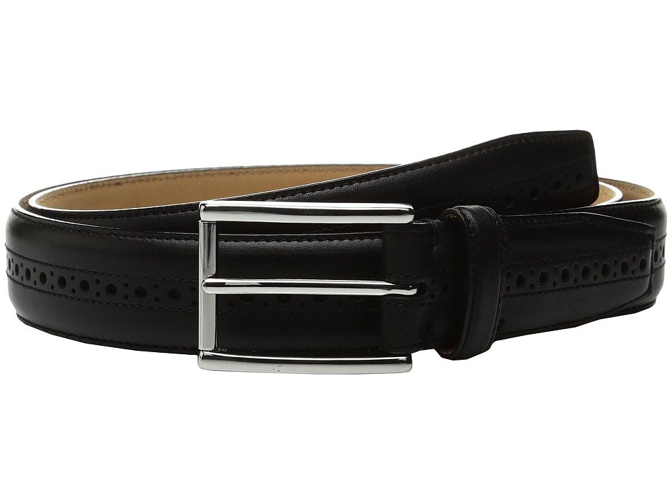 Cole Haan 32mm Stitched Edge Belt with Perforated and Hand Burnished Detail (Black) Men