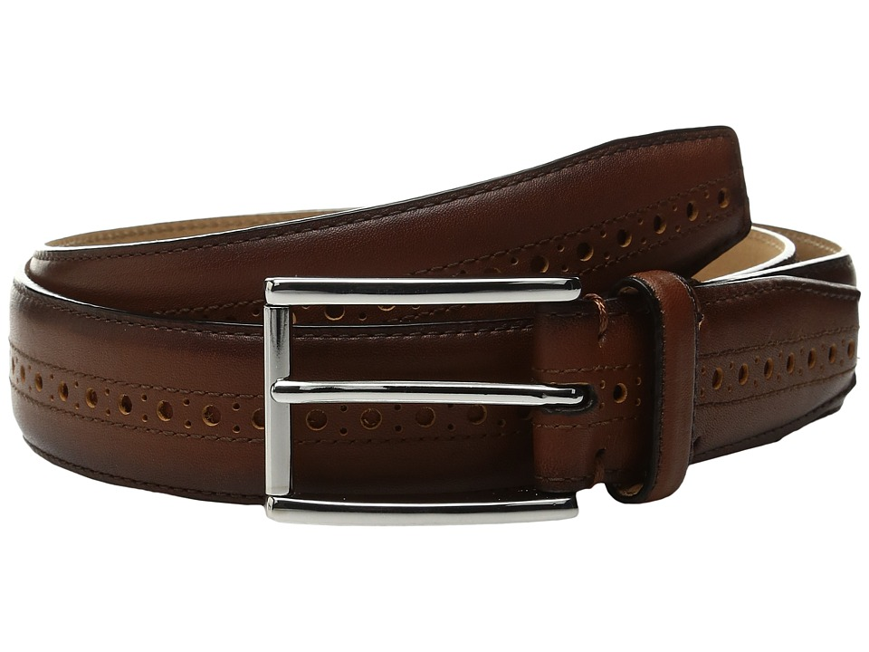 Cole Haan 32mm Stitched Edge Belt with Perforated and Hand Burnished Detail (British Tan) Men