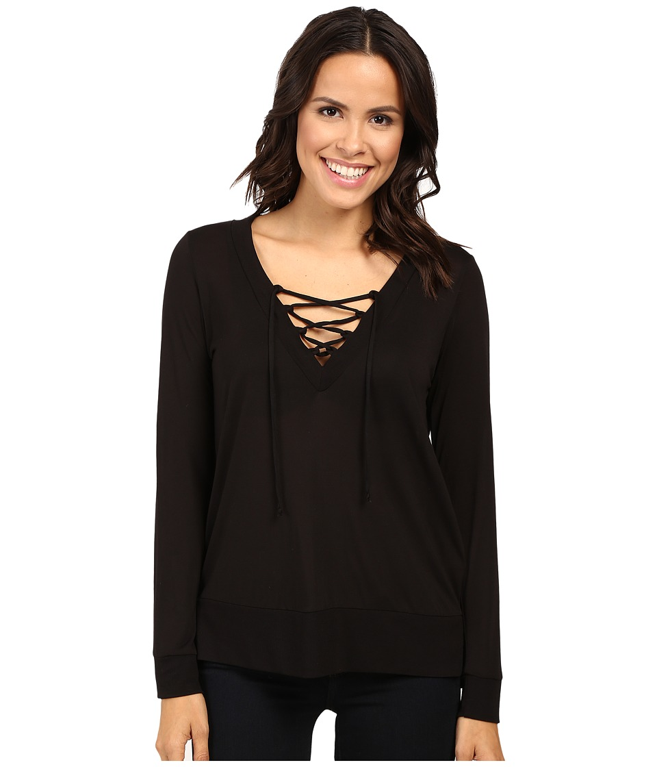Lanston Lace-Up Pullover (Black) Women