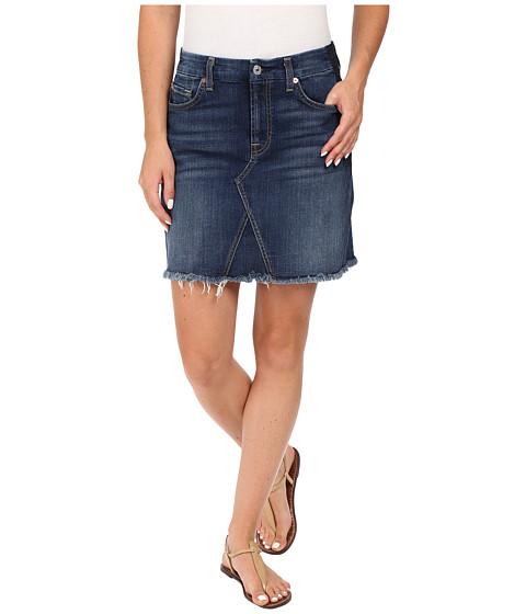 7 For All Mankind A Line Skirt w/ Raw Hem & Shadow Back Pockets in Medium Shadow Blue