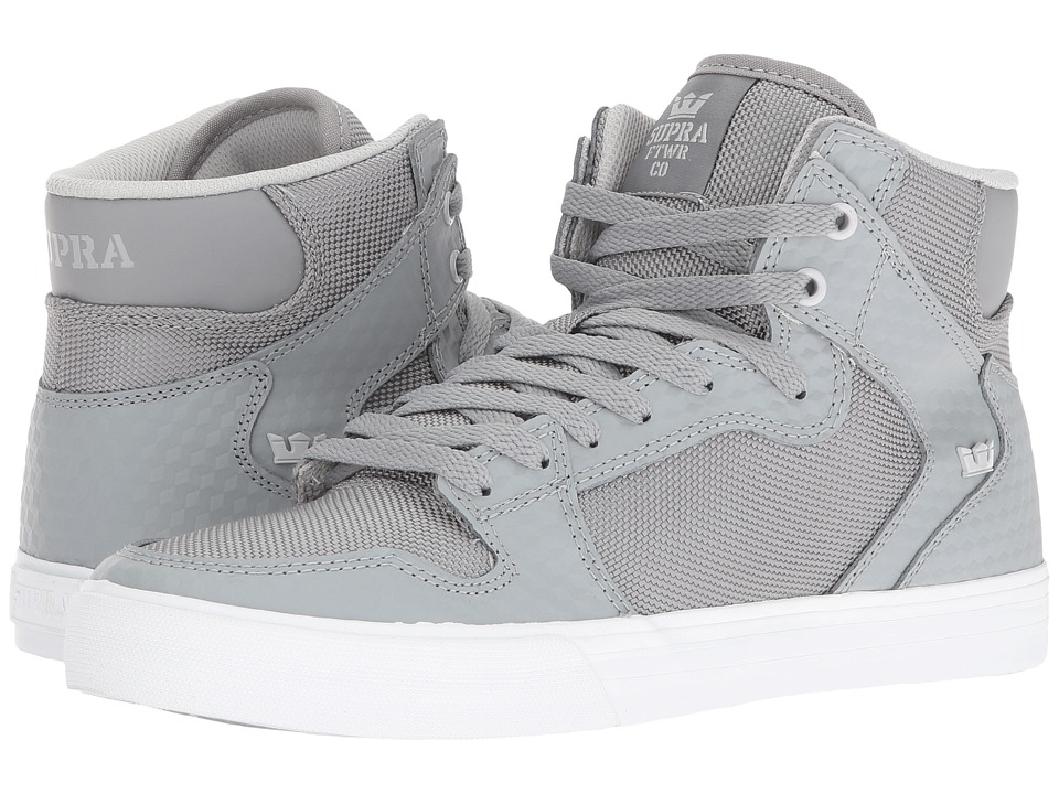 Supra Vaider (Grey Leather/White) Skate Shoes