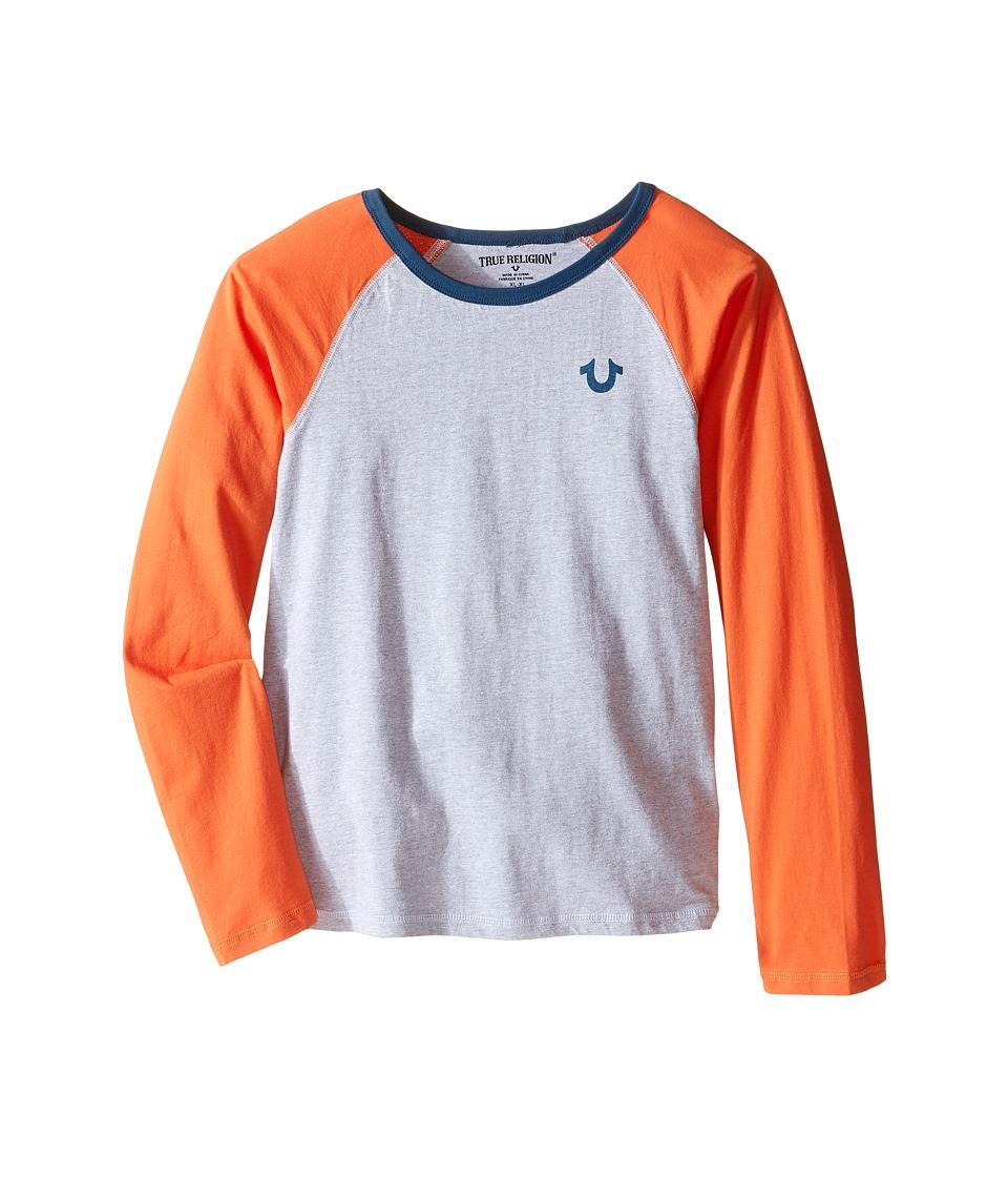 True Religion Kids - Color Block Raglan T-Shirt (Big Kids) (Heather Grey) Boy