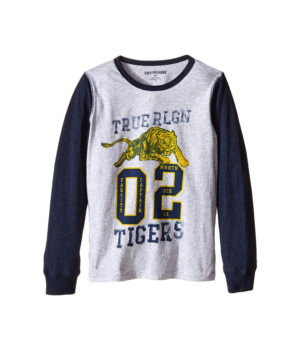 True Religion Kids - Varsity Tiger Long Sleeve T-Shirt (Toddler/Little Kids) (Heather Grey) Boy