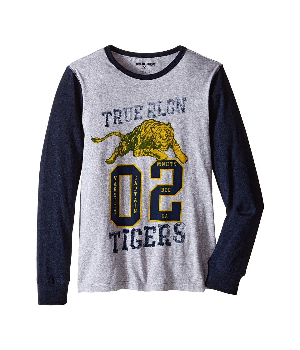 True Religion Kids - Varsity Tiger Long Sleeve T-Shirt (Big Kids) (Heather Grey) Boy
