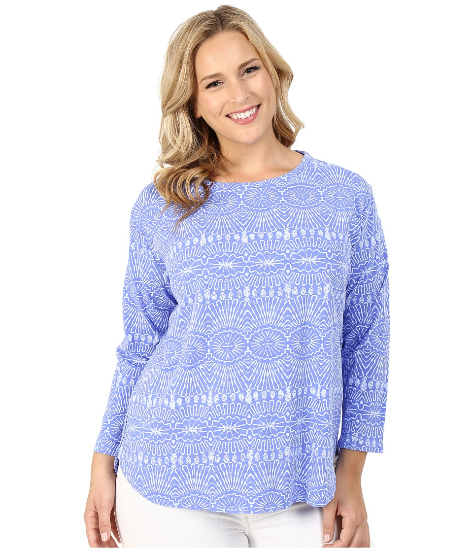 Fresh Produce Plus Size Tribal Catalina Top Periwinkle Blue Womens Clothing