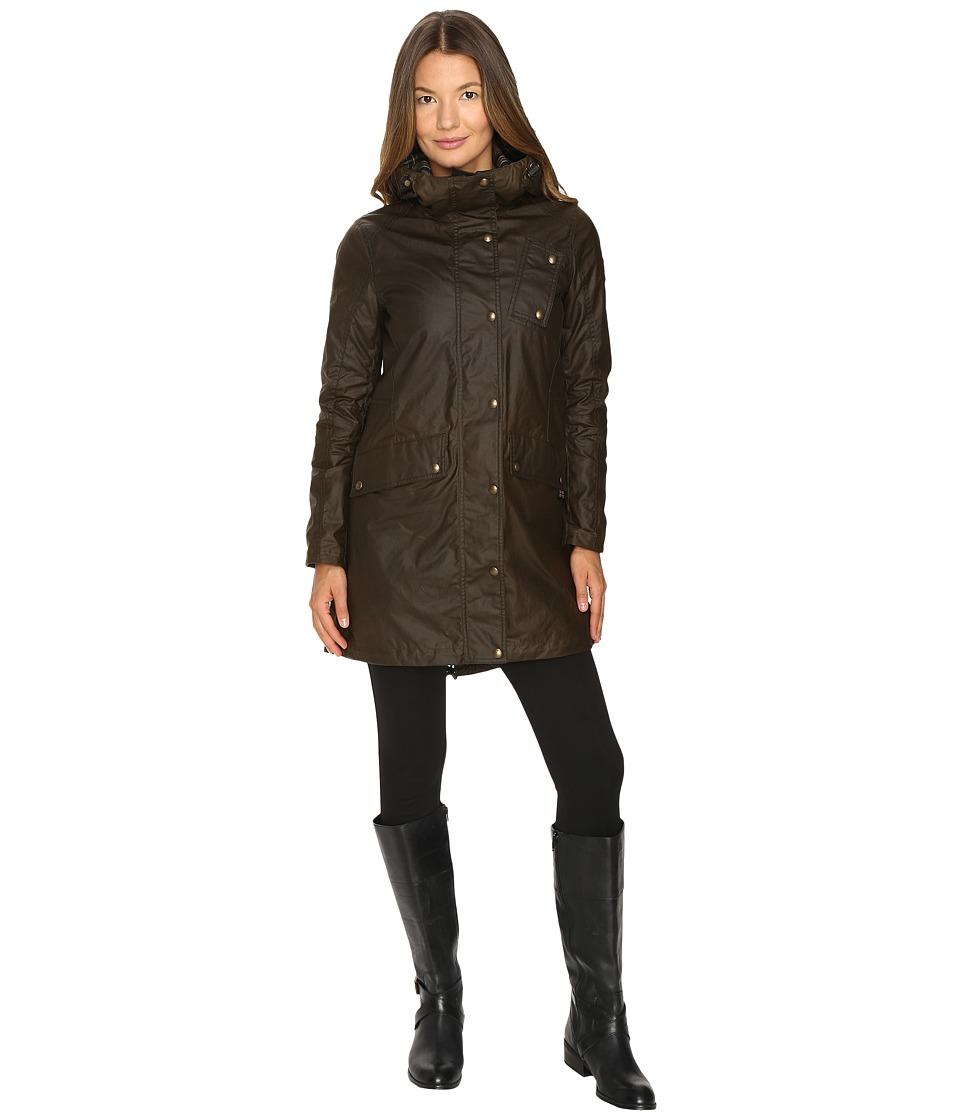Image of BELSTAFF - Payne Signature 6 oz. Wax Cotton Coat (Faded Olive) Women's Coat